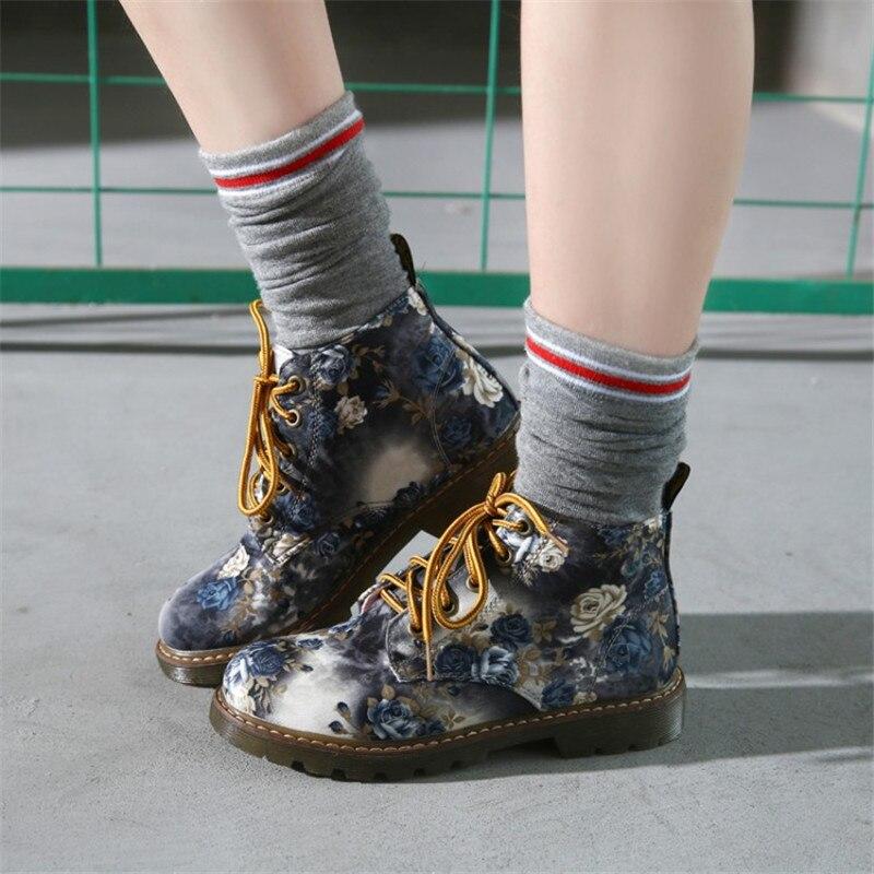 Cootelili outono botas de tornozelo feminino salto baixo flor  apartamentos sapatos casuais mulher oxfords rendas botas de motocicleta  mais tamanho 41 42women ankle bootsankle bootsshoes woman -