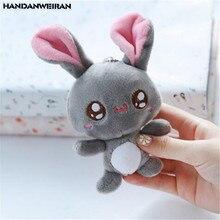HANDANWEIRAN 1PCS Mini Rabbit Plush Toy Pendant Cute Big Eyes Rabbits Kids Stuffed Toys Keychain Wedding Company Small Gift 12CM