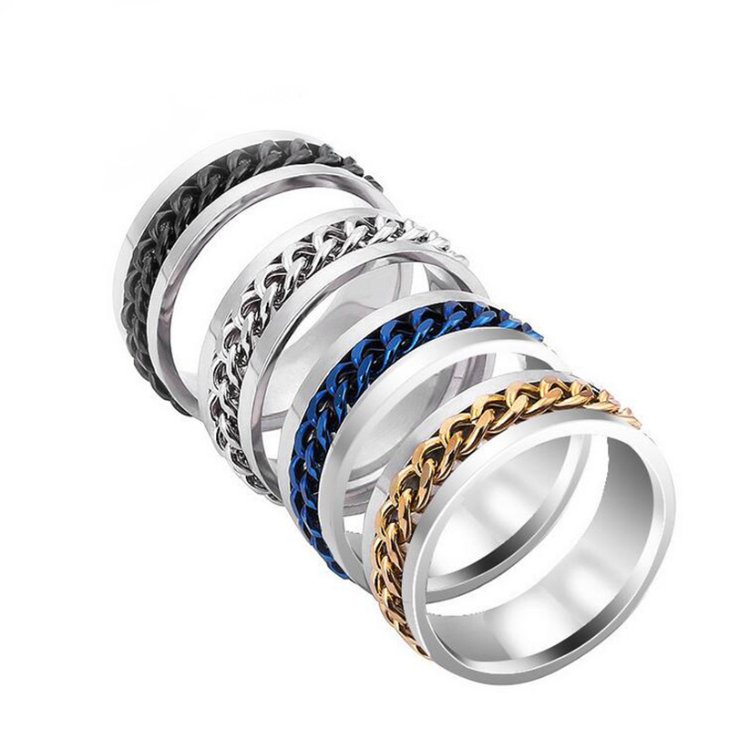 Pickyz Black Chain Spinner Stainless Steel Rings For Men Fashion Mens Ring Punk Rock Accessories Sufficient Supply Jewelry & Accessories