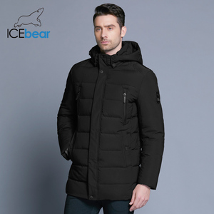 Image 2 - ICEbear 2019 new winter mens jacket with high quality fabric detachable hat for males warm coat simple mens coat MWD18945D