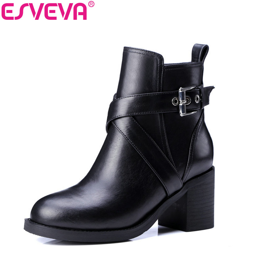 ESVEVA 2018 Women Boots Cow Leather + PU Autumn Shoes Square High Heels Ankle Boots Ladies Motorcycle Boots Black Size 34-39 esveva 2018 women boots zippers black short plush pu lining pointed toe square high heels ankle boots ladies shoes size 34 39 page 7