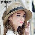 Mujeres del verano Maison Michel sombrero de paja de Sun Boho Beach ala ancha sombrero de Fedora Sunhat Trilby panamá gángster tapa sombrero 20