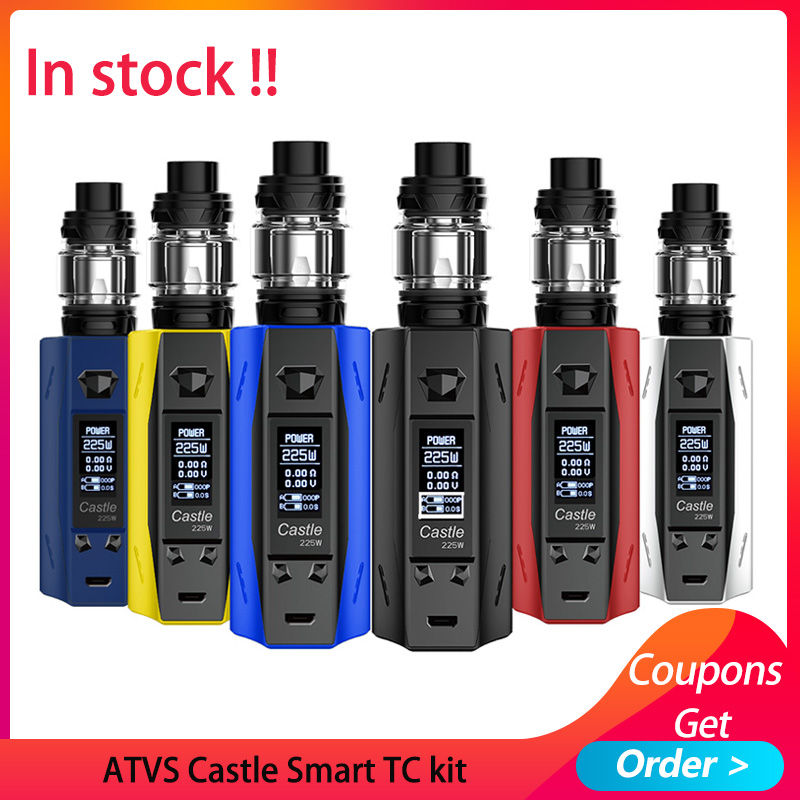225W Vape Kit ATVS Castle Smart TC Vape 3ml Tank Top Filling Atomizer VS CAPTAIN PD18650 BOX MOD/aegis Solo E Cigarette Kit
