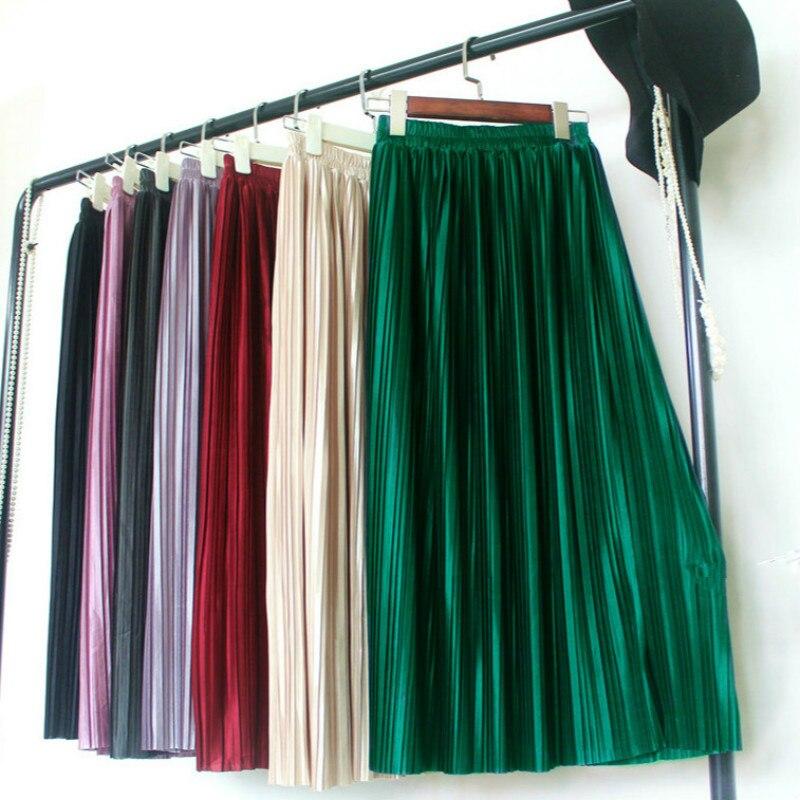 Texture-Skirt Pleated Shiny Retro High-Waist Metal And Summer Thin Organ Female