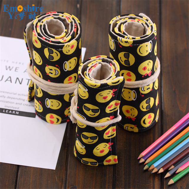 New Arrival Handmade Expression Smiley Face Pencil Bag Large Capacity Student Canvas Pencil Case Emoji Pencil Case B137