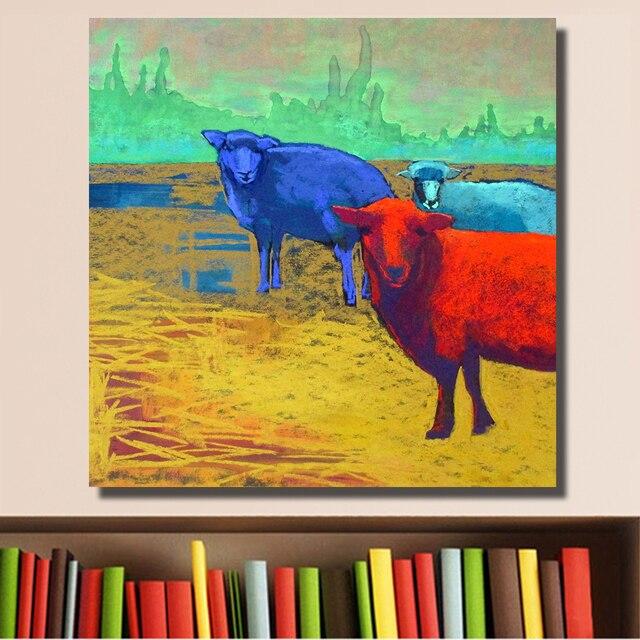 HDARTISAN Wall Printed Three Sheep on the Farm Landscape Oil ...
