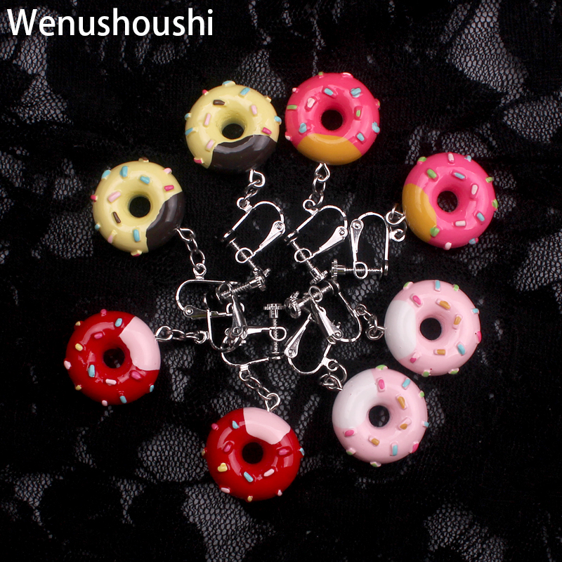 Jewelry & Accessories Candid Wenushoushi Alloy Donut Clip On Earrings For Women Resin Sweet Food Novelty Clip Earrings Without Piercing Bijouxfemme Girls A Complete Range Of Specifications Clip Earrings