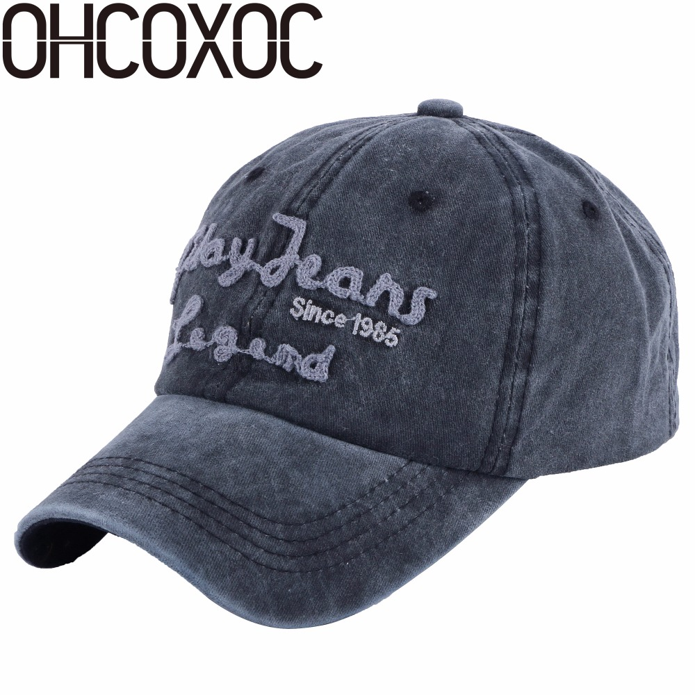 OHCOXOC new fashion women men baseball cap Washable denim style caps sports hats unisex cotton active snapback wholesale  caps new unisex 100% cotton outdoor baseball cap russian emblem embroidery snapback fashion sports hats for men