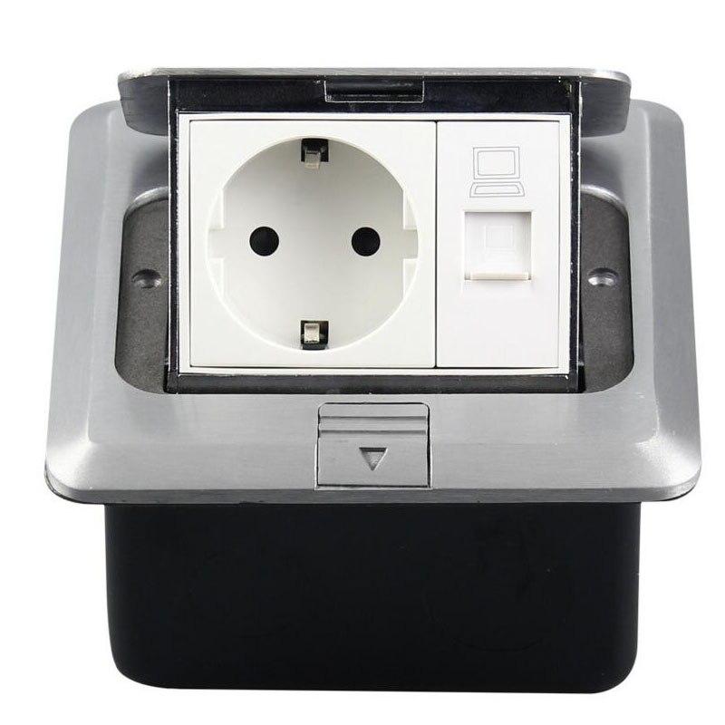 Tout le panneau en aluminium Europe Standard prise électrique 1 prise EU + 1 prise de sol réseau ordinateur personnalisé disponible