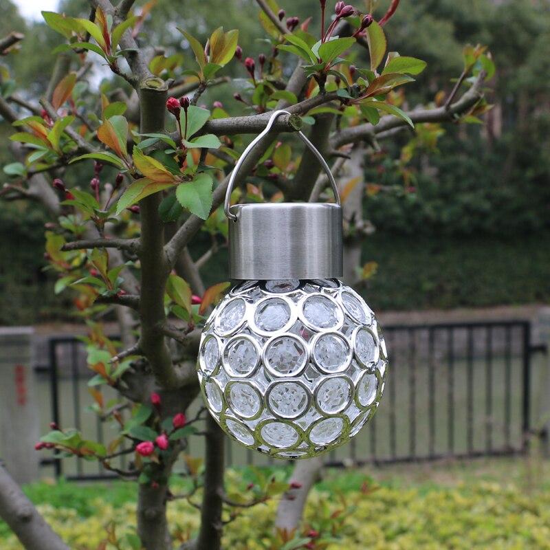 Colorful crystal ball hanging solar light lanterns ...