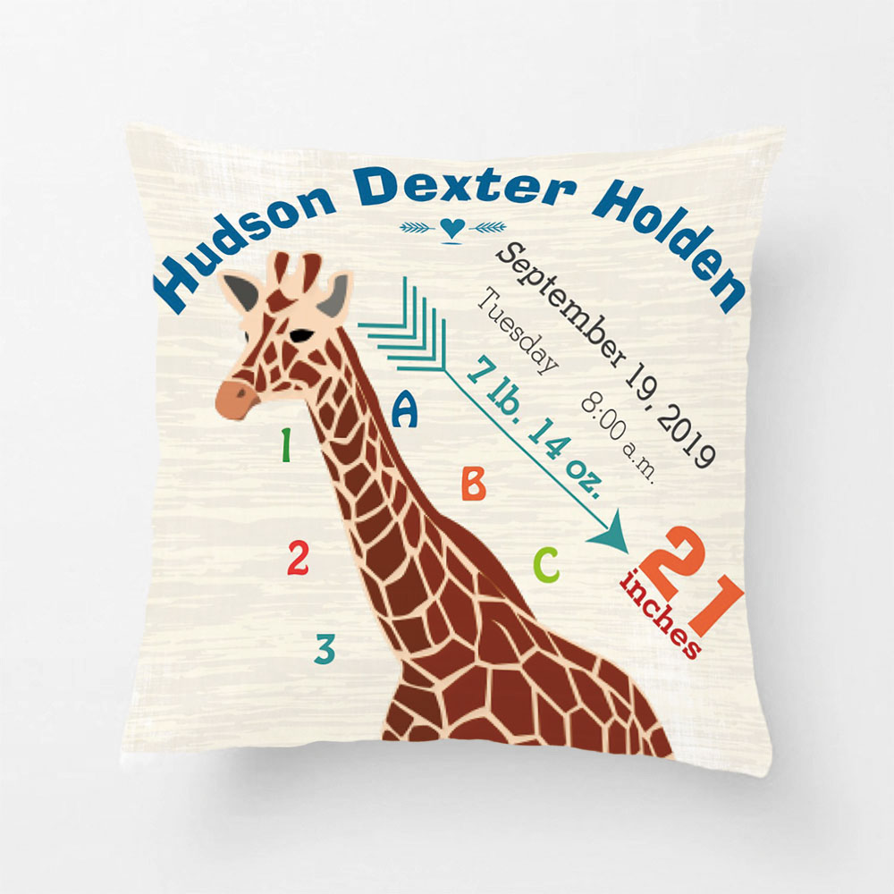 Boy Nursery Baby Birth Stats Giraffe Arrow Pattern Throw Pillow Decorative Cushion Cover Pillow Case Customize Gift By Lvsure