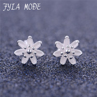 Fyla Mode Authentic 100 925 Sterling Silver Darling Daisies Stud Earrings For Women Luxury Fine Jewelry