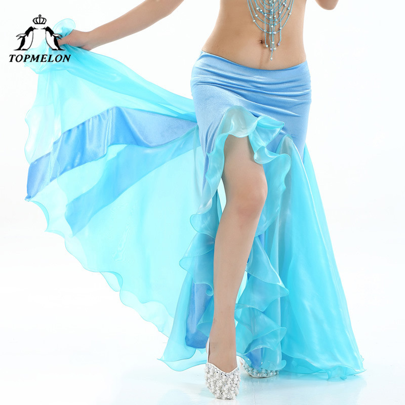 TOPMELON 2018 Performance Skirt Ruffles Belly Dancing Skirts Shows Stage Split Mesh Chiffon Skirts Sexy Solid Elastic