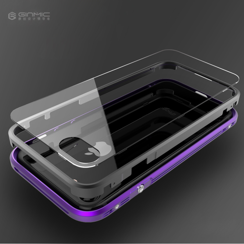 imágenes para Para el iphone 7 más la Caja de Marco de Metal de parachoques de Aluminio de cuerpo completo Cubierta A Prueba de Golpes para el iphone 7 más Caso Trasera Transparente cubierta