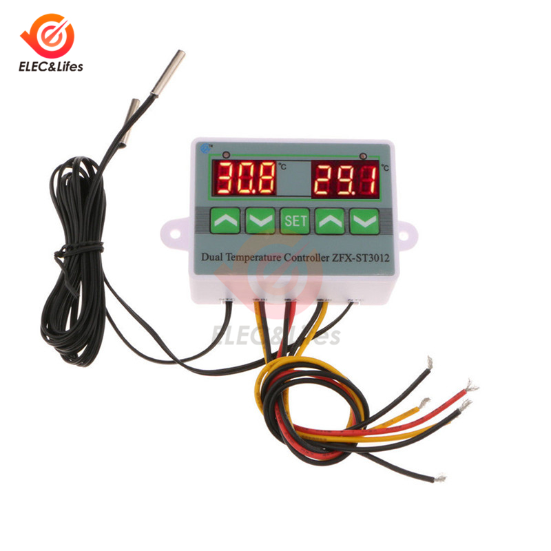 ST3012 Smart Temperature Controller Switch DC 24V LED Digital Dual Electronic Thermostat Temperature Sensor Gauge Heater Cooler