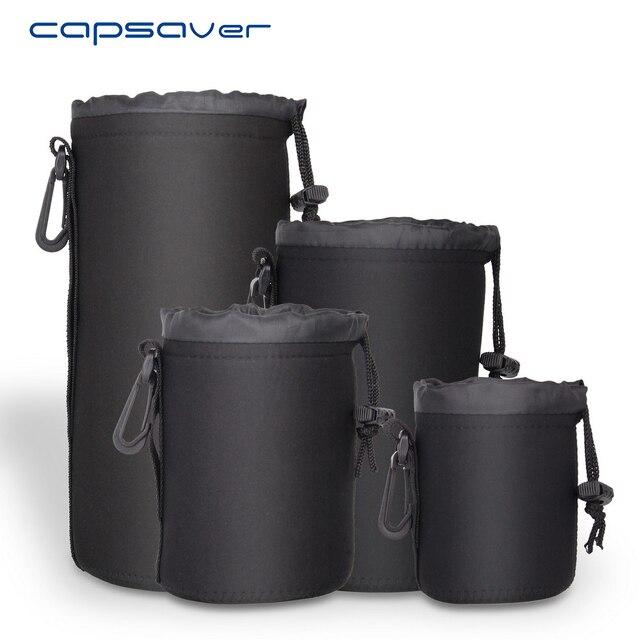 Capsaver 4 adet/grup yüksek kaliteli neopren kamera Lens çantası seti kalın koruyucu yumuşak torbalar çantası çantası Canon Nikon Sony için