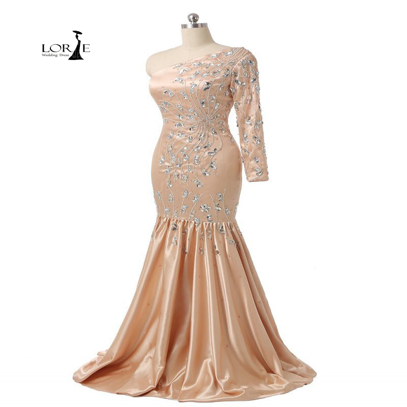 LORIE Dress Mermaid Party Evening Dress for Woman Luxury Crystals Champagne Long Formal Dresses One-Shoulder Actual Images