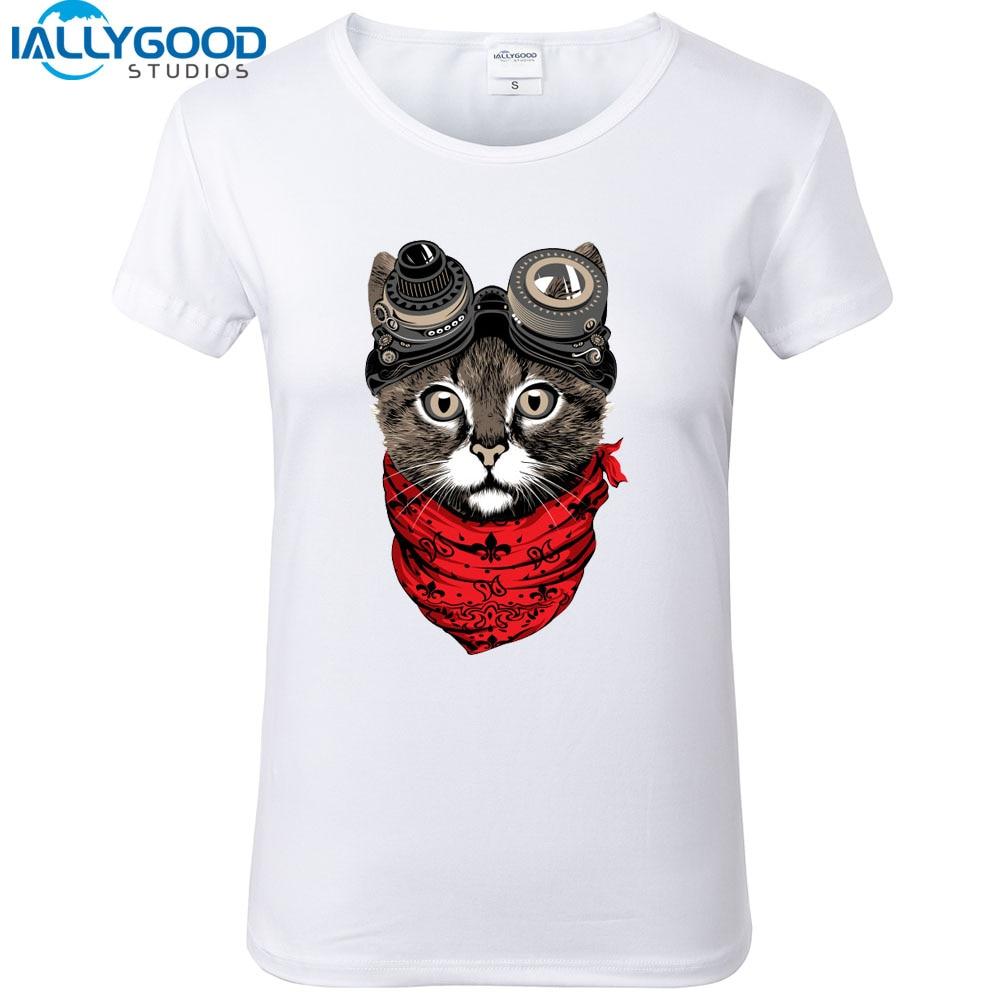 New Summer Fashion Cute Cat Dog Punk Design Print White T shirts