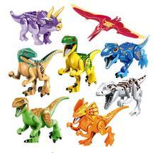 8pcs Dinosaurs DIY Assembly Tyrannosaurus Triceratops Building Block Bricks Toys Dinosaur Action Figure All Model
