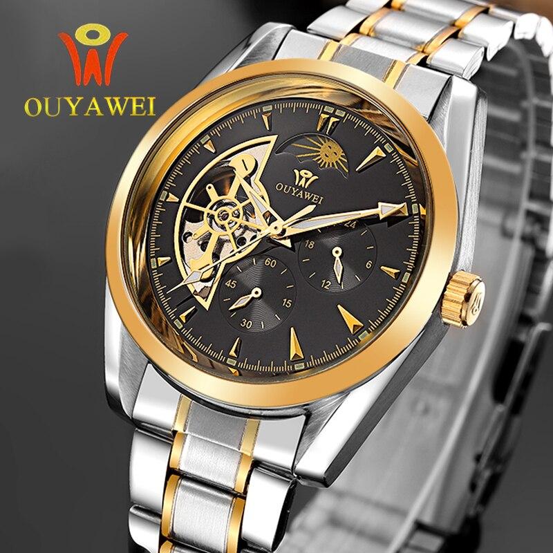 OUYAWEI GOLD Mechanical Wrist Mens Watch Top Brand Luxury Automatic Clock Men 22mm Stainless Steel Skeleton