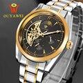 Ouyawei ouro mens watch top marca de luxo automático do relógio de pulso mecânico esqueleto de aço inoxidável dos homens 22mm reloj hombre