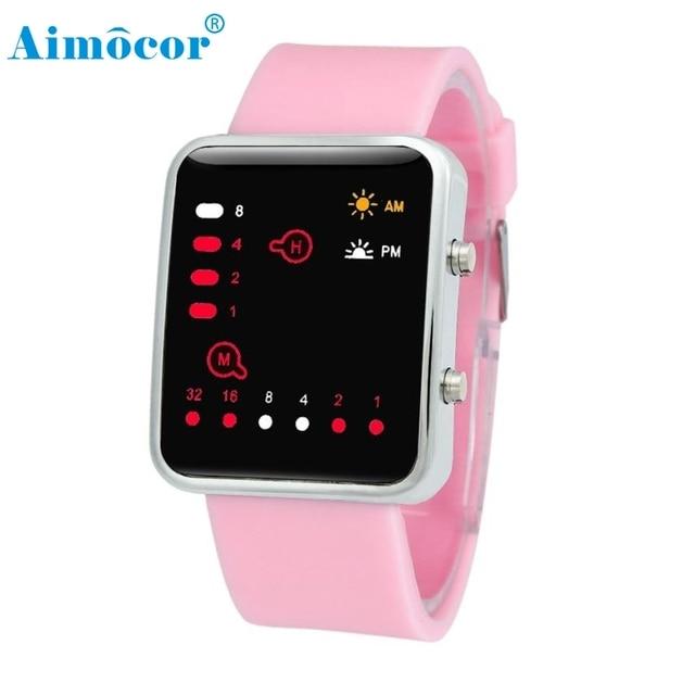 2017 Newly Designed Women Mens Digital Red LED Sports Watch Binary Wristwatch Si