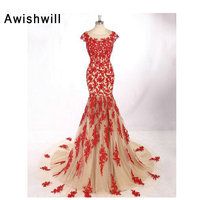 Vestido de Noche Cap Sleeve Mermaid Evening Dress Tulle Champagne Color With Red Lace Open Back Women Formal Gowns Party