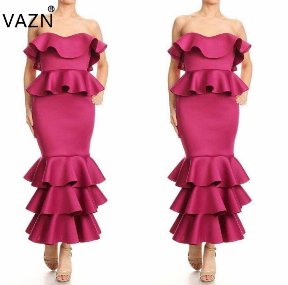 VAZN New 2018 Brand High Quality Bandage Dress Sexy Strapless Maxi Long Dress Elegant Women Dress AM237