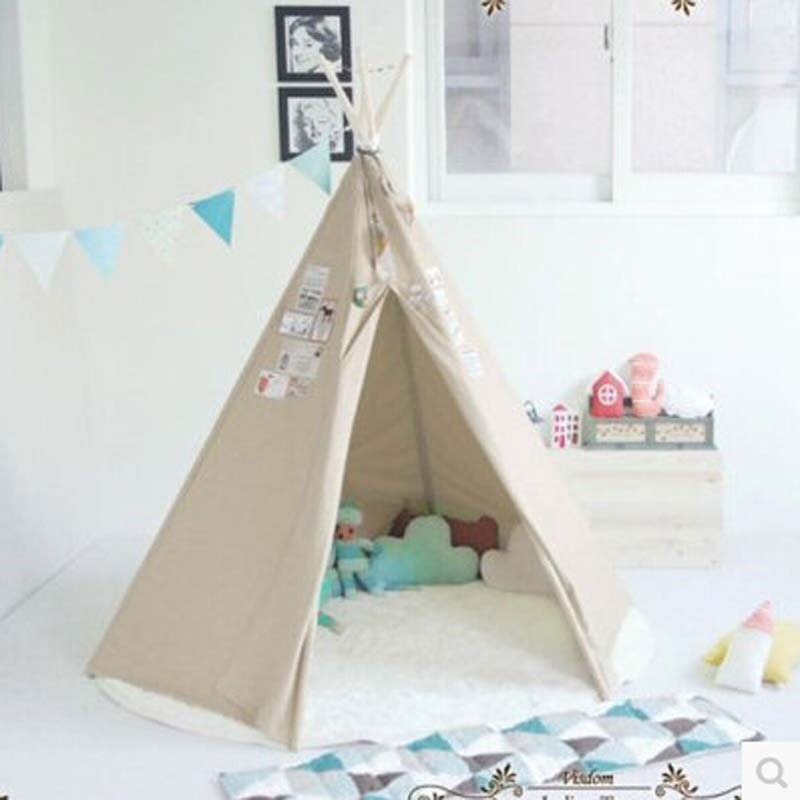 Dream House Classic Solid White 6 Poles Style Indian Teepee Tent For