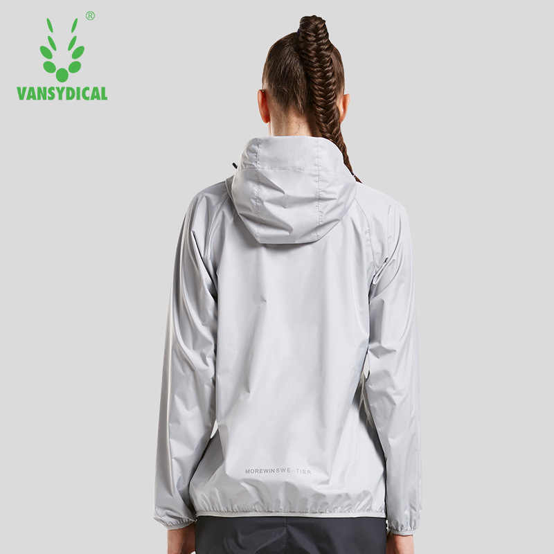 Vansydical ホット汗スポーツジャケット女性フィットネストップシャツヨガジャケット防水防風スポーツウェアフード付きジャケット体操