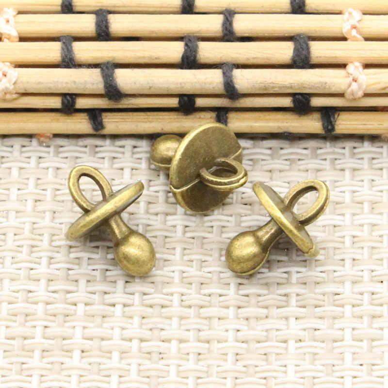 10 sztuk Charms smoczek dla niemowląt Binky gryzak 13x10x10mm tybetański kolor srebrny wisiorki antyczna biżuteria Making DIY Handmade Craft