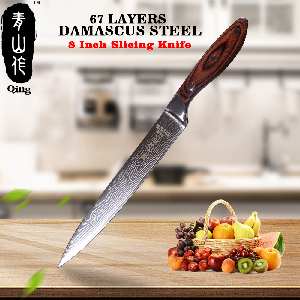 QING 8 Japanese Damascus Knife VG10 Damascus Steel Cooking Tool Black Color Wood Handle Kitchen Knife