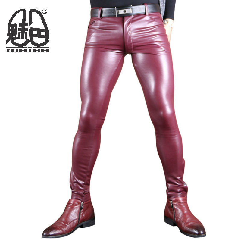 bf025461a57ac MEISE 2017 New Fashion Faux Leather Pants for Men Watch Role Men X Soft  High Elastic Faux Latex Skinny Gay Pants Customize
