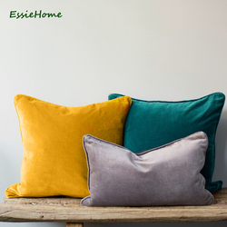 ESSIE HOME 15 Color Available 2018 Fashion Colors High End Fine Velvet Cushion Cover Pillow Case Piping Pillow Piping Cushion