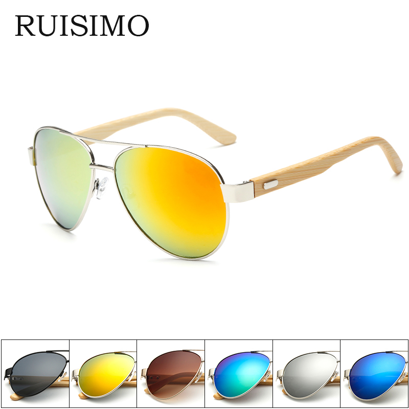 Bamboo Sunglasses pilot  Men Wooden metal Women pilot Brand Designer Mirror Original Sun Glasses for men drive retro de sol