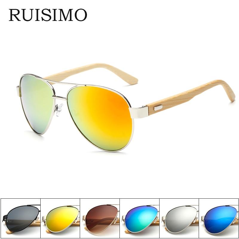Bamboo Sunglasses Pilot  Men Wooden Metal Women Pilot Brand Designer Mirror Original Sun Glasses For Men Drive Retro De Sol