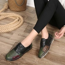 Women's Handmade Shoes Genuine Leather Flat Lacing Mother Shoes Woman Loafers Soft Single Casual Shoes Women Flats beyarne handmade folk style women flats casual shoes genuine leather lady soft bottom shoes for mother fashion loafers