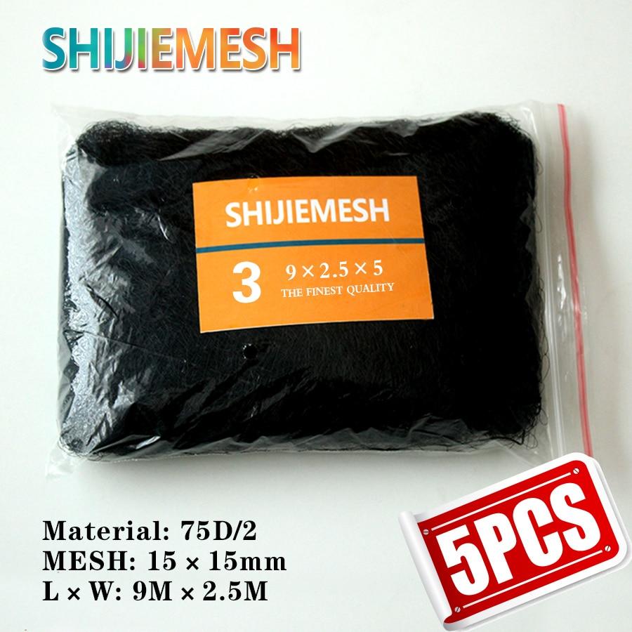 High Quality 9M x 2.5M 15mm Bird Huntting Polyester 75D/2 Anti Bird Mist Net 5pcs