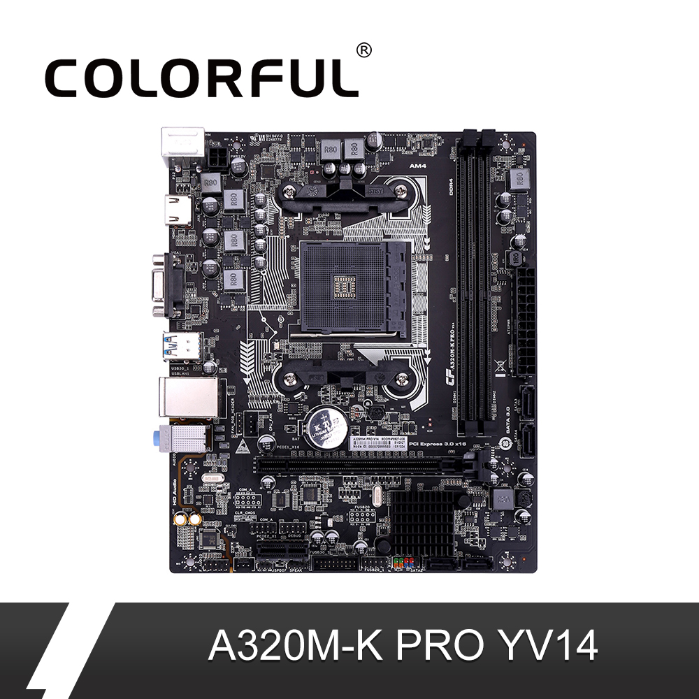 Colorful A320M K PRO YV14 iGame Motherboard AMD M ATX Ryzen Processors Gaming A320 Mainboard For
