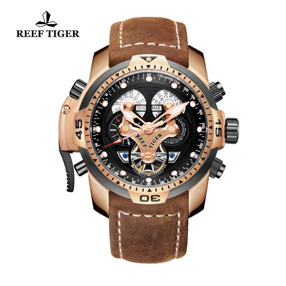 Reef Tiger/RT Military Watches for Men Genuine Brown Leather Strap Rose Gold Automatic Wrist Watch RGA3503