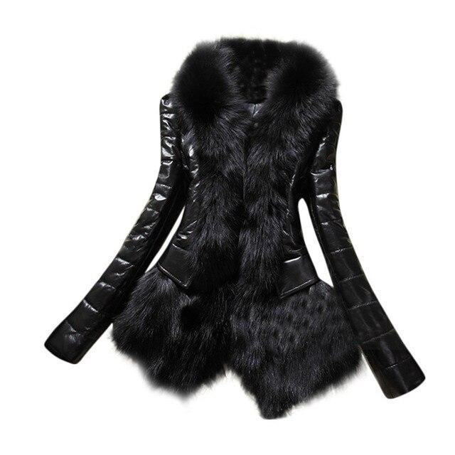 New Designer Women Warm Fur Collar Coat Leather Thick Jacket Overcoat Parka