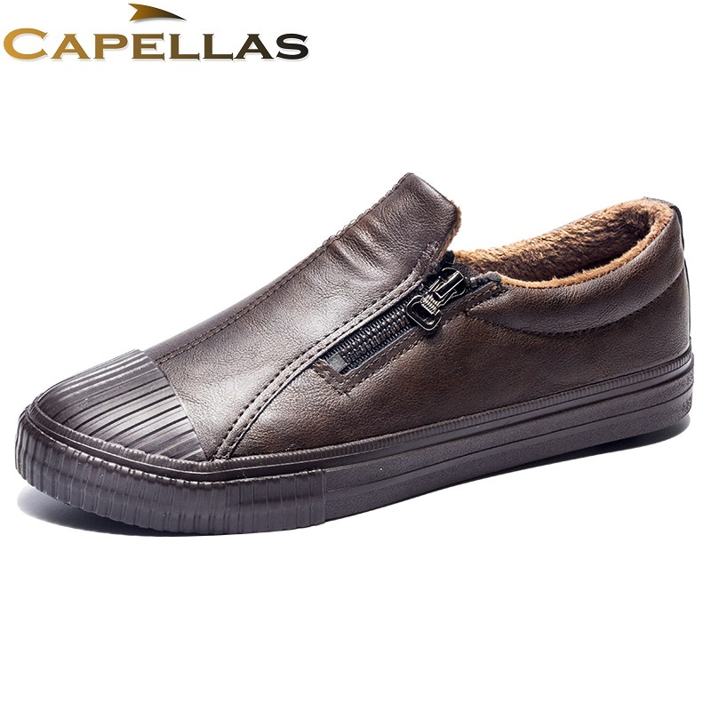 CAPELLAS New Arrival Casual Men`s Winter Shoes Warm Plush Fur Leather Shoes for Mens Casual Shoes Fashion Men Shoes Size 39-44 new casual mens cheap winter shoes keep warm with fur outdoor male snow shoes plush boots fashion men s suede leather sneakers
