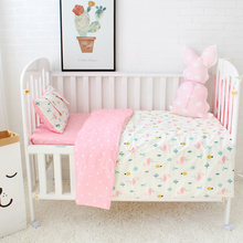 3 Pcs Set Baby Bedding Set 100% Cotton Flamingo Grey Cloud Pattern Crib Kit Including Pillowcase Duvet Cover Cot Flat Sheet