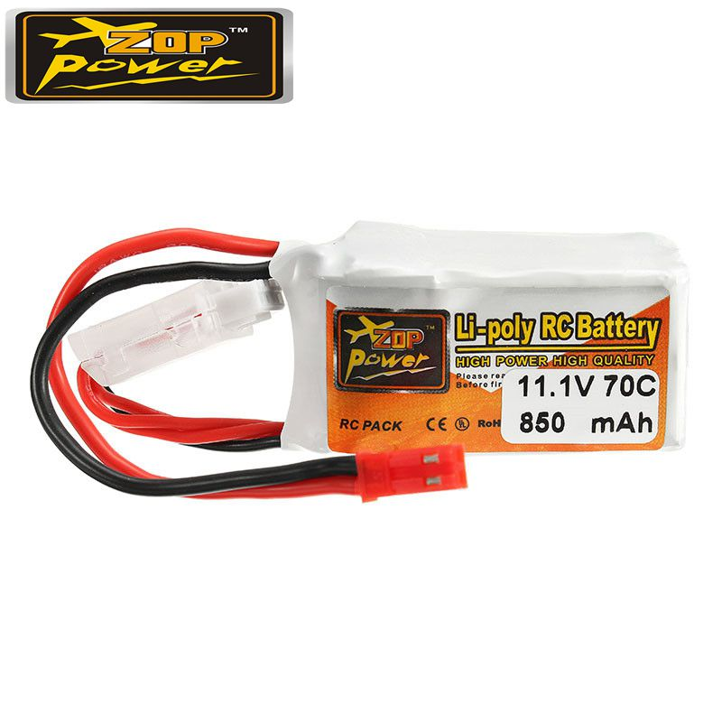 Rechargeable Lipo Battery ZOP Power 11.1V 850mah 70C 3S  Lipo Battery JST Plug