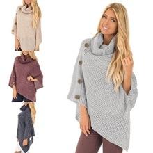 Свитер-накидка, женский свитер, европейский стиль, модный рукав летучая мышь, на пуговицах, вязаный женский свитер,, зимний свитер с высоким воротом
