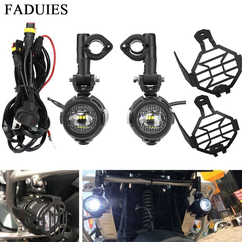 FADUIES 40W Auxiliary Light Kits LED Motorcycle Headlight With Protect Guards Wiring Harness For BMW R1200GS/ADV/F800GS/F700GS