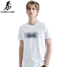 Pioneer camp short sleeve t shirt mens brand clothing casual feather print cotton soft quality tees men ADT906241