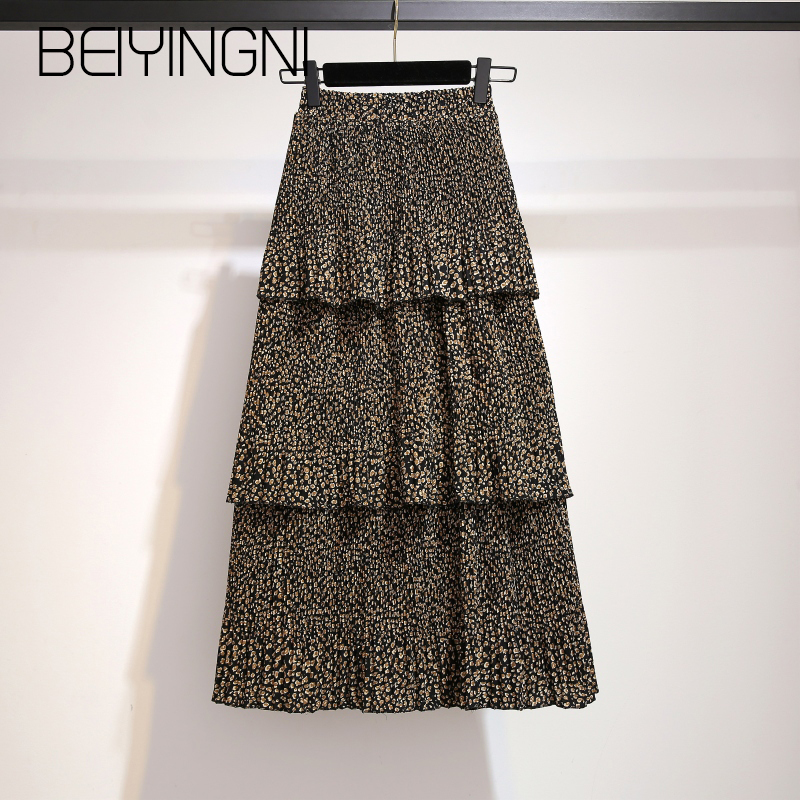 Beiyingni Leopard Printed Skirts Female Pleated Elastic Waist High Quality Fashion Skirt Women Chiffon Jupe Femme Cupcake Faldas
