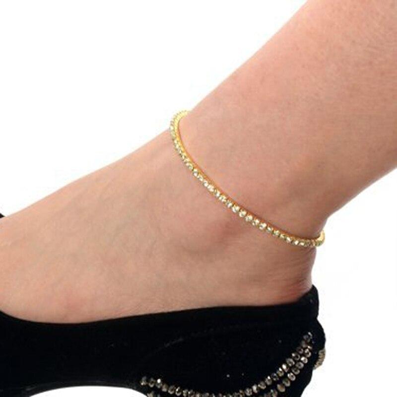 One Row Clear Crystal Charm Simple Silver Gold Elegant -5918