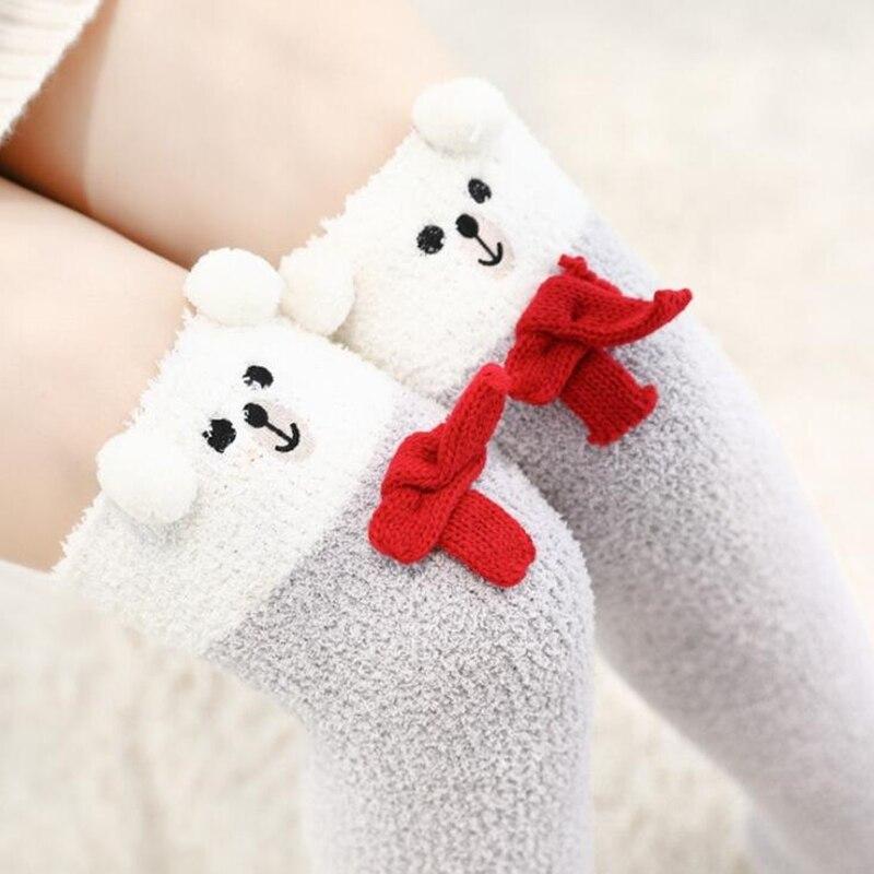 Japanischen Mori Mädchen Tier Modellierung Knie Socken Striped Nette Reizende Kawaii Gemütliche Lange Oberschenkel Hohe Socken Compression Winter Warme Socken